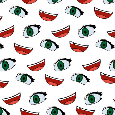 color cute woman eye and mouth background vector illustration