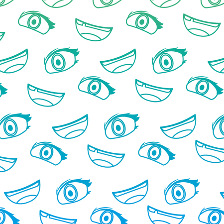 degraded line cute woman eye and mouth background vector illustration