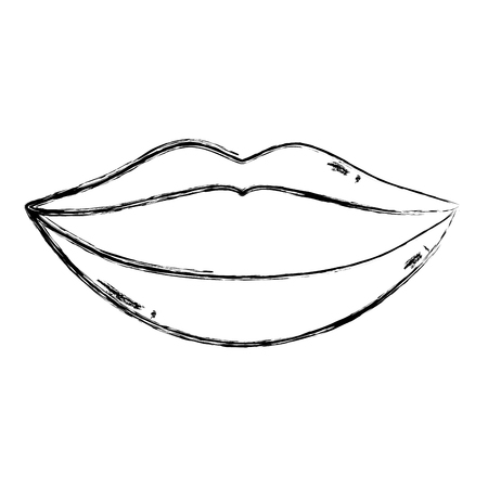 grunge beauty mouth with makeup lips style vector illustration