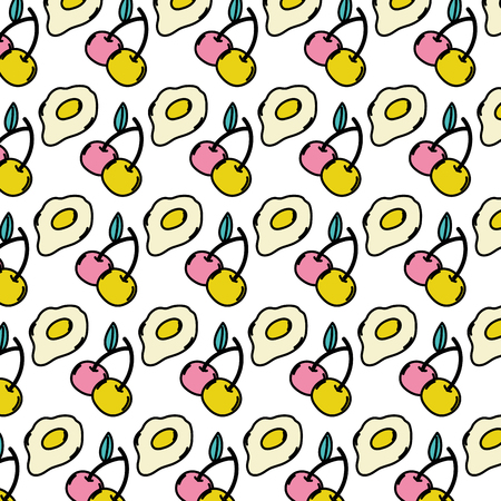 color cherry fruit and fried egg background vector illustration