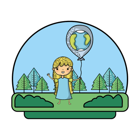 girl with earth planet balloon in the landscape vector illustration Foto de archivo - 103221452