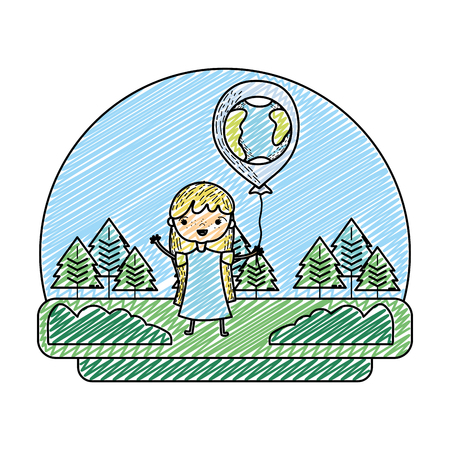 grunge girl with earth planet balloon in the landscape vector illustration Foto de archivo - 103221490