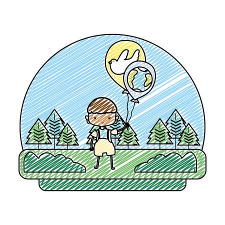 grunge boy with dove and earth planet balloons in the landscape vector illustration Foto de archivo - 103221491