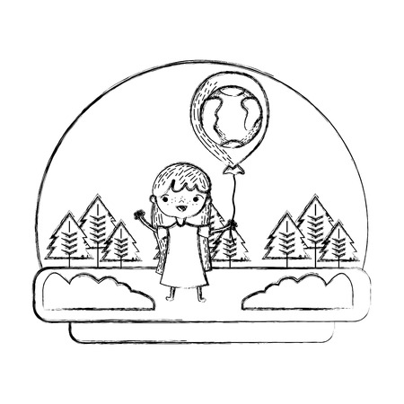 grunge girl with earth planet balloon in the landscape illustration Foto de archivo - 103221495