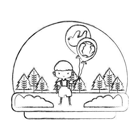 grunge boy with dove and earth planet balloons in the landscape  illustration Foto de archivo - 103221506