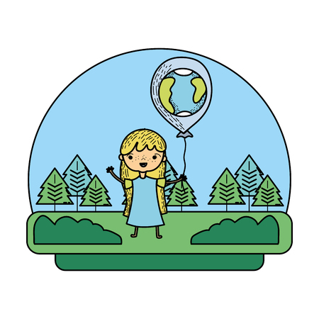 color girl with earth planet balloon in the landscape vector illustration Foto de archivo - 103221540