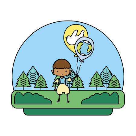 color boy with dove and earth planet balloons in the landscape vector illustration Foto de archivo - 103221541