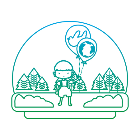 degraded line color boy with dove and earth planet balloons in the landscape vector illustration Foto de archivo - 103221544