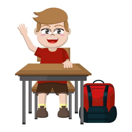 boy sitting school desk with backpack vector illustration