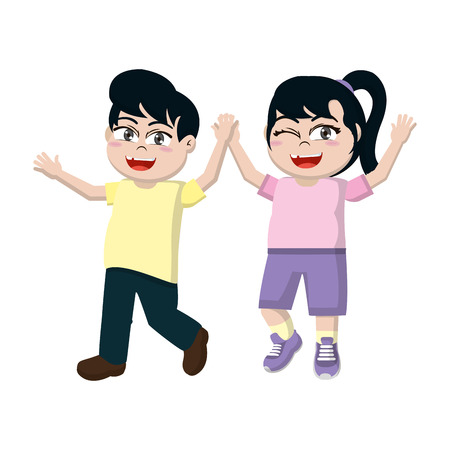 happy girl and boy children with hands up vector illustration Stock Illustratie