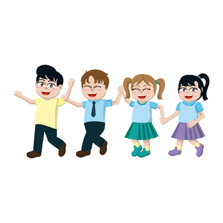 happy students children friends and hairstyle vector illustration