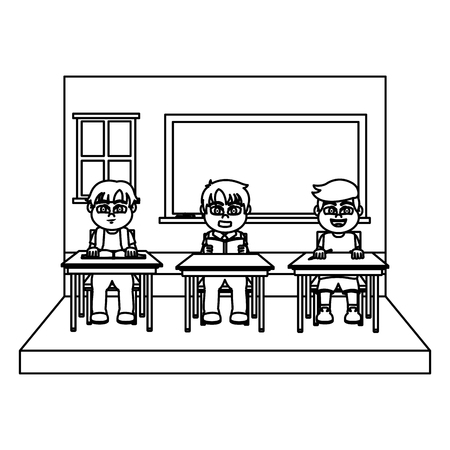 line classroom with students sitting school desk vector illustration
