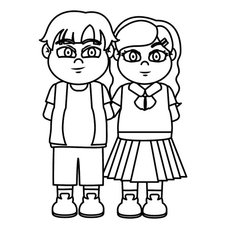 line cute girl and boy children friends vector illustration