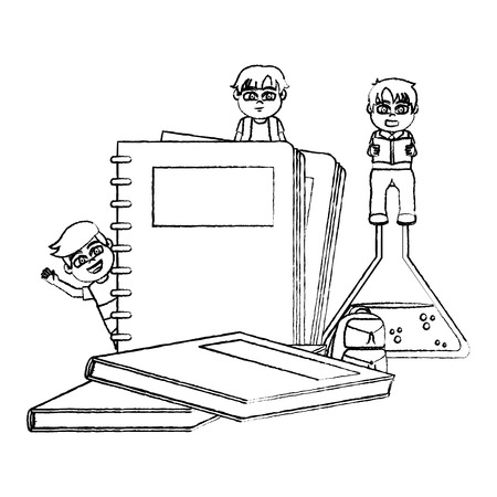 grunge cute students children with school utensils vector illustration Ilustracja