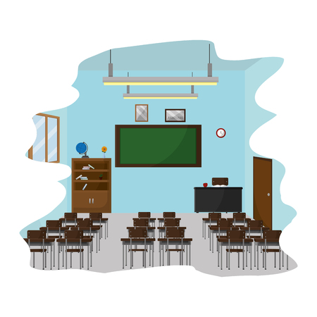 school classroom with education utensils to study vector illustration