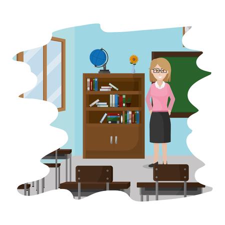 education teacher in the school knowledge classroom vector illustration
