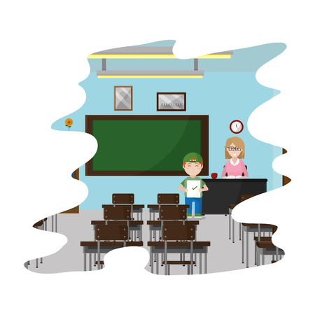 teacher and student with good test in the classroom vector illustration