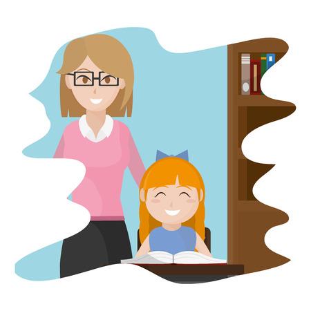 treacher explaning student classroom activities vector illustration Illustration