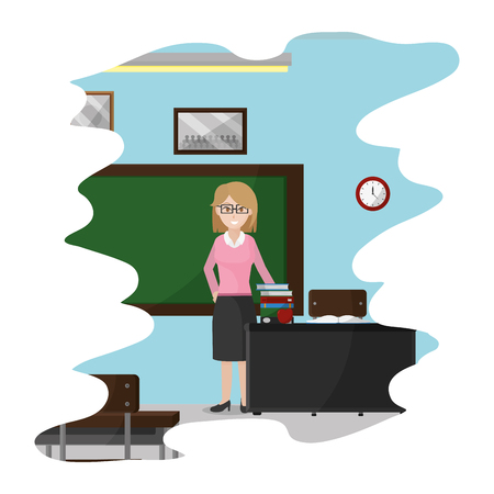 teacher in the school classroom with books knowledge vector illustration