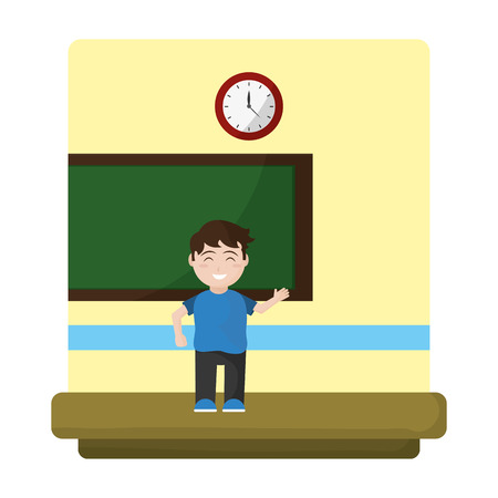 happy student knowledge in the school classroom vector illustration