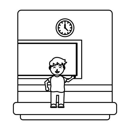 line happy student knowledge in the school classroom vector illustration