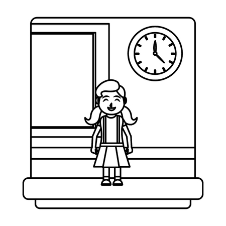 line cute girl student in the school classroom vector illustration