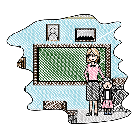 doodle teacher with girl student in the school classroom vector illustration Illustration