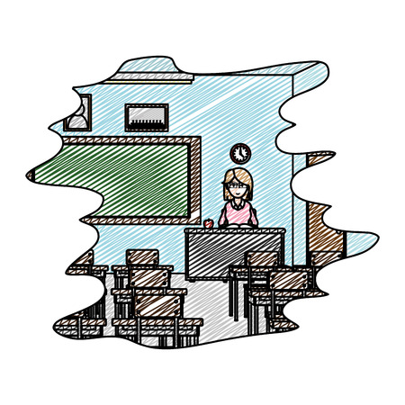 doodle education teacher in the desk to knowledge study vector illustration Illustration