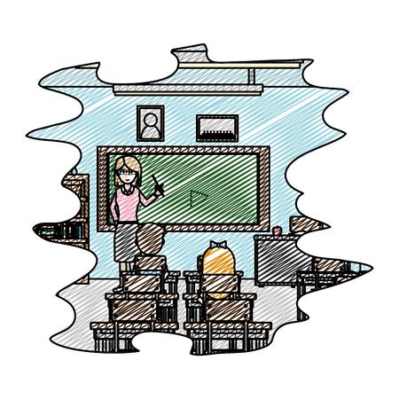 doodle students learning of knowledge teacher education vector illustration Illustration