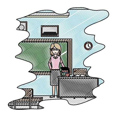 doodle teacher in the school classroom with books knowledge vector illustration Illustration