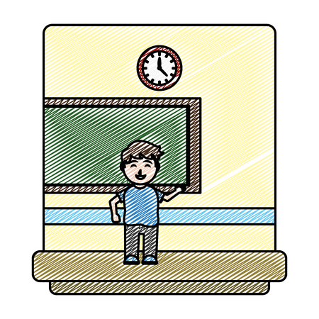 doodle happy student knowledge in the school classroom vector illustration Illustration