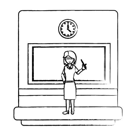 grunge education teacher explain academic lesson vector illustration Illustration