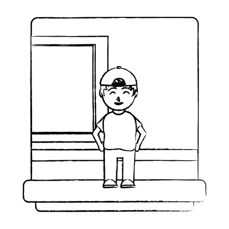 grunge nice student knowledge in the school classroom vector illustration Illustration