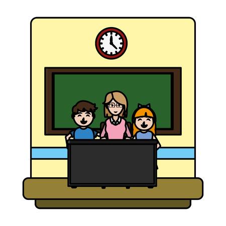 color teacher explain students activities in her desk Illustration