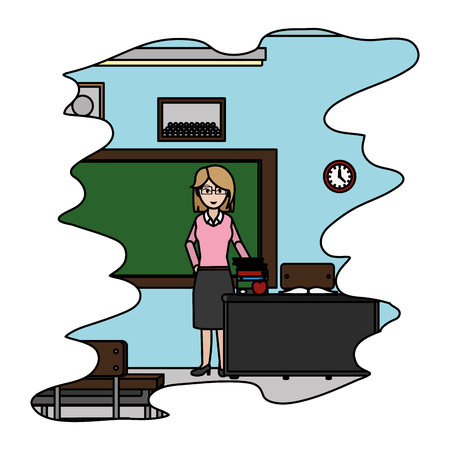 color teacher in the school classroom with books knowledge Illustration