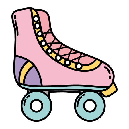 color fun roller skate shoes style vector illustration