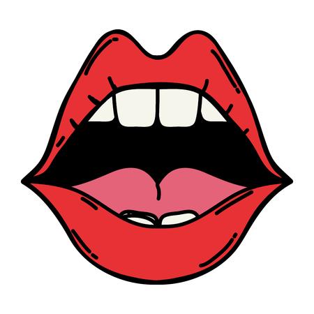 Color de boca abierta con dientes y labios de belleza ilustración vectorial