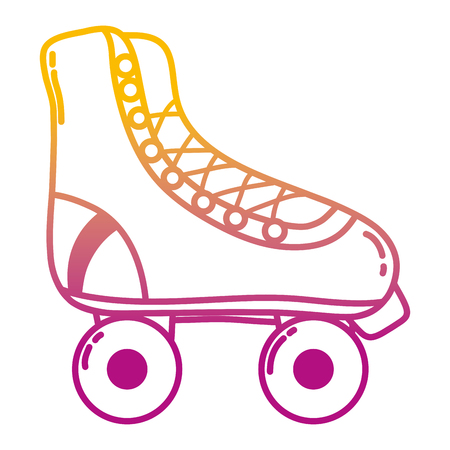 degraded line fun roller skate shoes style vector illustration