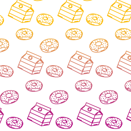 degraded line delicious donuts and fashion box background vector illustration
