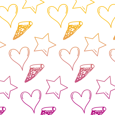 degraded line delicious pizza with heart and star background vector illustration