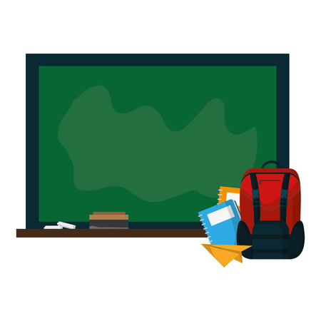 blackboard with backpack and notebooks paper vector illustration Stock Illustratie