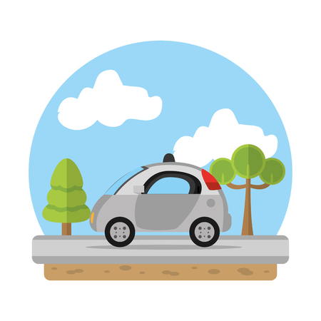 police car emergency in the landscape route vector illustration