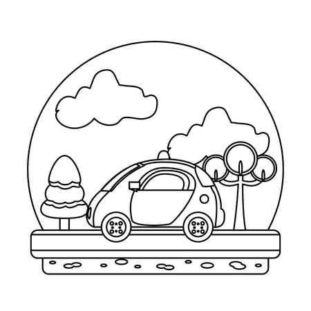 line police car emergency in the landscape route vector illustration