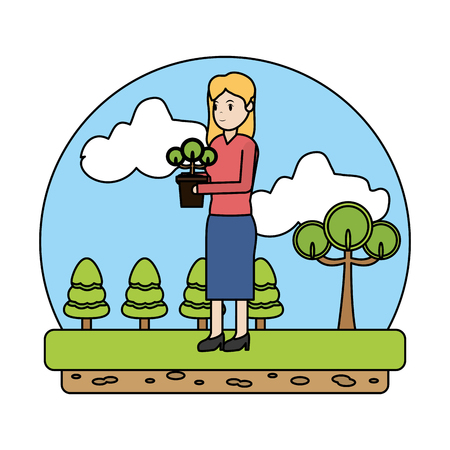color ecology woman planting trees in the landscape vector illustration