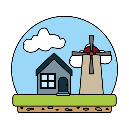 color house and nature windmill agriculture tower vector illustration