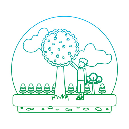 degraded line man in the ecology park with apple tree vector illustration