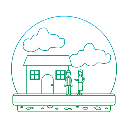 degraded line happy couple family together with house vector illustration
