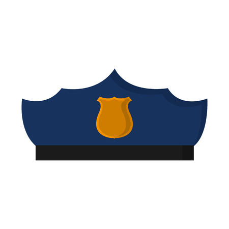 police hat officer style with emblem vector illustration