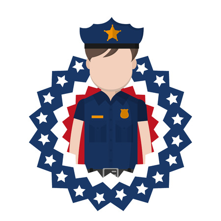 policeman with usa patriotic tag nation vector illustration