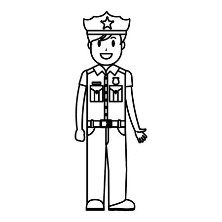 line policeman officer with uniform and hat design vector illustration